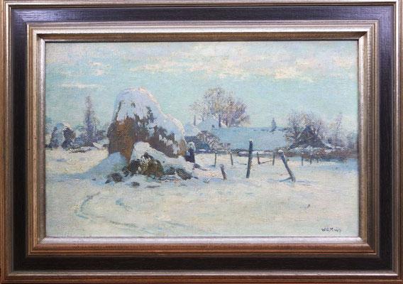 """Willem Alexander Knip (1883-1967)   De Larense School   Olieverf op doek   Doekmaat: 38,5 cm. x 60,5 cm.   """"Winter ochtend in Laren""""   Taxatiewaarde: 1.995,= euro   Met echtheidscertificaat en taxatierapport"""