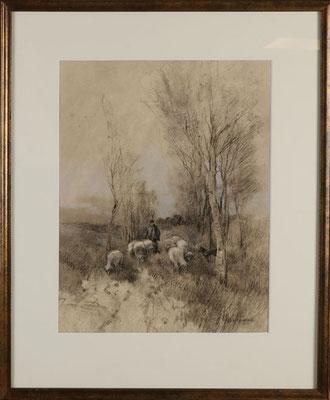 """Johannes Josephus Garjeanne (1860-1930)   Impressionist   19e eeuw   Gemengde techniek   """"Landschap met herder en schapen""""   Beeldmaat: 40 cm. x 32 cm.   Taxatiewaarde: 495,= euro   Nu te koop voor: 375,= euro   Met echtheidscertificaat en taxatierapport"""