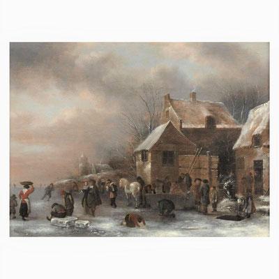 """Nicolaes Molenaer (1626/1629-1676)   17e eeuw   Oude Meesters   Olieverf op paneel   Paneelmaat: 47 cm. x 62,2 cm.   """"Hollands wintergezicht met schaatsers""""   Taxatiewaarde: 24.500,= euro   Met echtheidscertificaat en taxatierapport"""