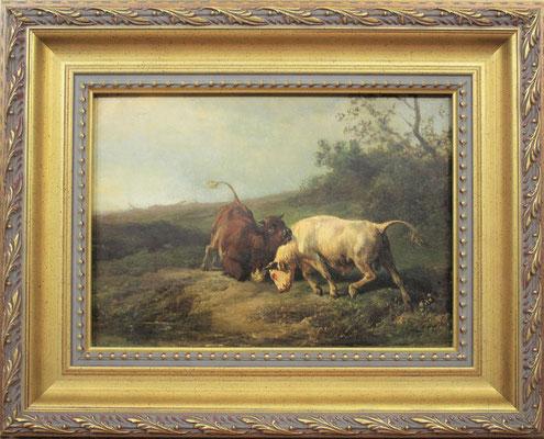 """Jan Bedijs Tom (1813-1894)   Hollandse Romantiek 19e eeuw   Olieverf op paneel   Paneelmaat: 21 cm. x 30 cm.   """"vechtende stieren""""   Taxatiewaarde: 2.500,= euro   Met echtheidscertificaat en taxatierapport"""