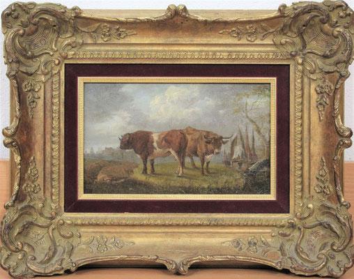 """Willem Romeyn (1624-1694)   Oude meesters 17e eeuw   Olieverf op paneel   Paneelmaat: 15,5 cm. x 25 cm.   """"Stier en een koe bij een rivier, een stad in de verte""""   Taxatiewaarde: 4.950,= euro   Met echtheidscertificaat en taxatierapport  """