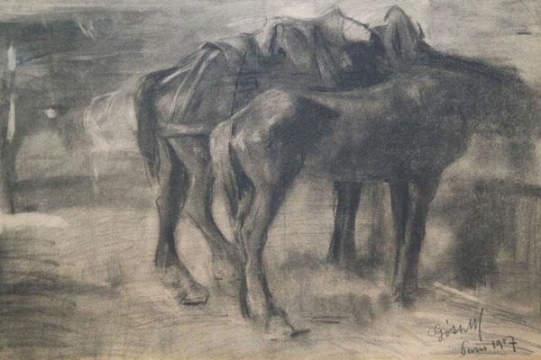"""Maurice Goth (1873-1944)   Domburgse schilderskolonie   20e eeuw   Houtskool op board   Beeldmaat: 36,5 cm. x 52,5 cm.   """"werkpaarden""""   Taxatiewaarde: 500,= euro   Nu te koop voor: 375,= euro   Met echtheidscertificaat en taxatierapport"""