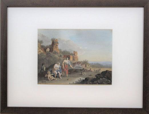"""Bartholomeus Johannes van Hove (1790-1880)   Hollandse Romantiek 19e eeuw   Aquarel op papier   Beeldmaat: 16 cm. x 22 cm.   """"vrouwen en putti bij ruïne""""   Taxatiewaarde: 1.450,= euro   Met echtheidscertificaat en taxatierapport"""