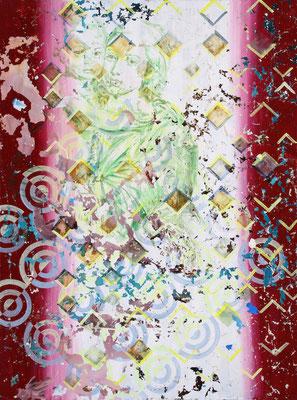 "DAS WAS BLEIBT  //   94,5  x 78,5"" (240 x 200 cm), oil and laquer on canvas, 2016"