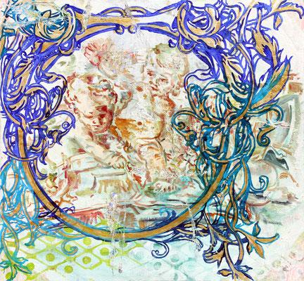 """DIE UTOPISTEN    //   61  x  65"""" (155 x 165 cm), oil on canvas, 2013"""