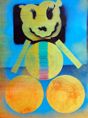 """GEOMETRIE EINES TEDDYBÄREN    //   15,7"""" x 12"""" (40 x 30 cm), oil and lacquer on canvas, 2011"""