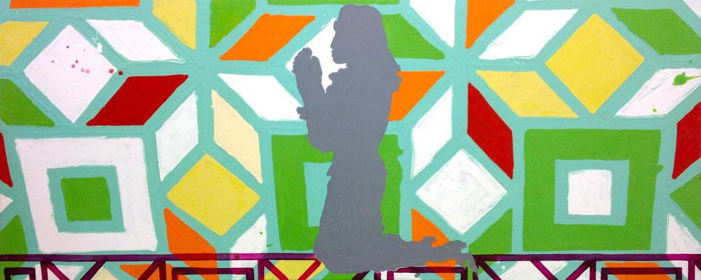 """MAN SUCHT EINE REGEL  //   31,5  x 78,5"""" (80 x 200 cm), oil and laquer on canvas, 2012"""