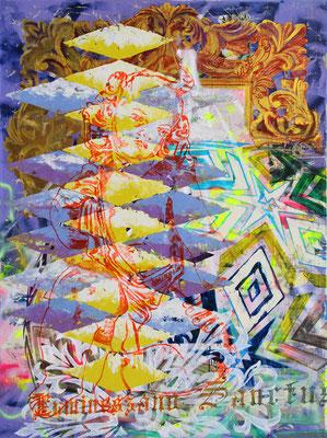 """DER RHOMBISCHE SCHALK    //   94,5"""" x 71"""" (240 x 180 cm), oil and lacquer on canvas, 2017"""