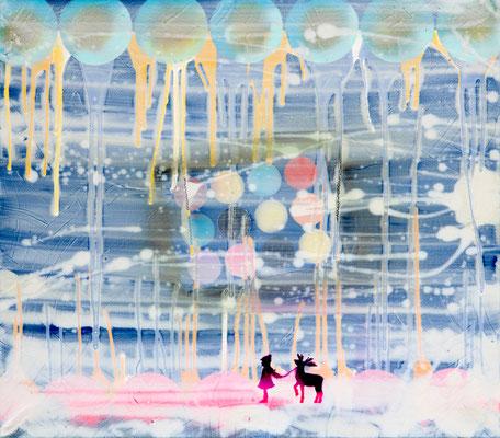 "SCHNEEKÖNIGIN    //   79"" x 71"" (80 x 90 cm), oil and lacquer on canvas, 2011"