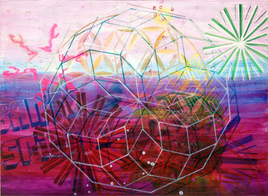 "KRAFTWERK    //   78,7"" x 106,3"" (200 x 270 cm), oil and laquer on canvas, 2015"