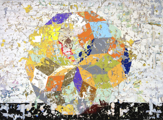 """DIE ERKENNTNIS, DASS ES KEINE REGEL GIBT    //   78,7"""" x 106,3"""" (200 x 270 cm), oil and laquer on canvas, 2014"""