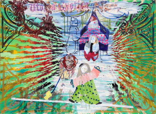"""UTOPIE MIT CLOWNS    //   78,7"""" x 106,3"""" (200 x 270 cm), oil and laquer on canvas, 2014"""