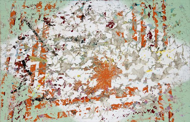 "DIE GEBURT DES GENIUS    //   51  x  79"" (130 x 200 cm), oil and laquer on canvas, 2013"