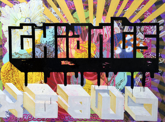 """GIGANTEN    //   79"""" x 106"""" (200 x 270 cm), oil and laquer on canvas, 2010"""