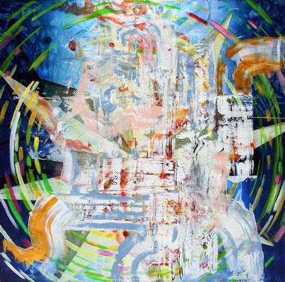 "FLUGVERSUCH   //   98,5  x  98,5"" (250 x 250 cm), oil on canvas, 2016"
