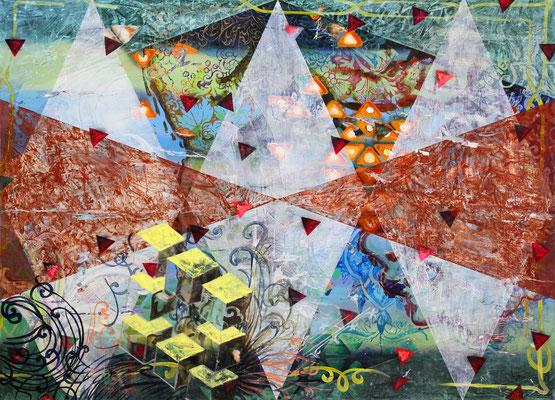 """DIE WELT ZERFÄLLT IN TATSACHEN    //   78,7"""" x 106,3"""" (200 x 270 cm), oil and laquer on canvas, 2013"""