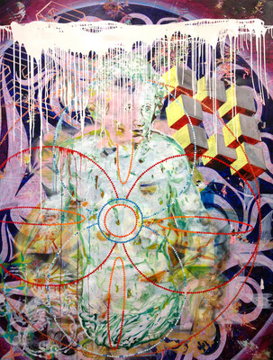 "CASPAR-HAUSER-WELT    //   106,3"" x 78,7"" (270 x 200 cm), oil and laquer on canvas, 2013"