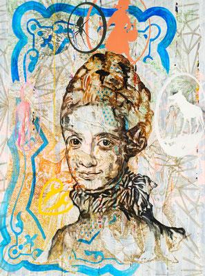 "WEBERIN DER ILLUSION    //   94,5"" x 71"" (240 x 180 cm), oil on canvas, 2011"