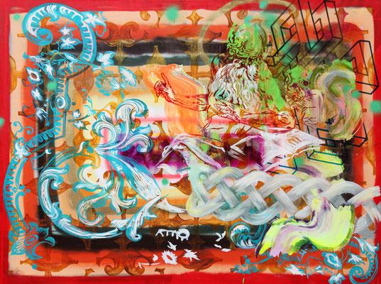 "DAS STUNDENBUCH    //   71"" x 94,5"" (180 x 240 cm), oil and alkyd on canvas, 2017"