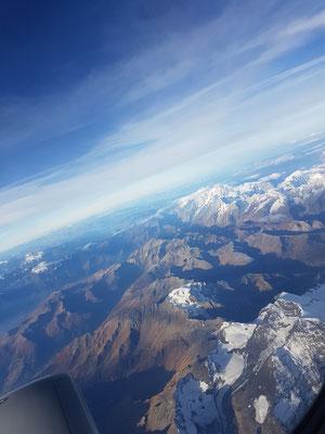 Beste Sicht über die Alpen auf dem Rückflug