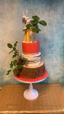 Kerst bruidstaart, bruidstaart semi naked cake bruidstaart