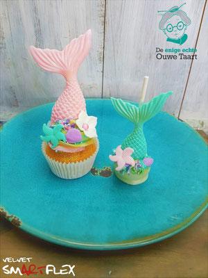 Zeemeermin cupcake en zeemeerminstaart cakepop