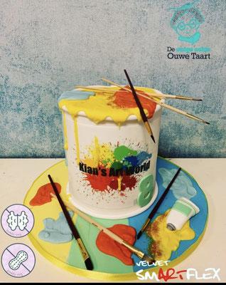 Kunsttaart schilders taart regenboog schilders taart