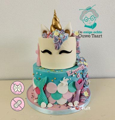 Twee thema taart, Unicorn & Zeemeermin taart