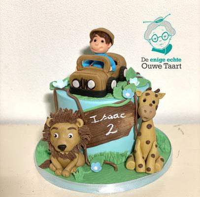 Jungle taart, fondant Leeuw, fondant Jeep, Fondant Giraffe #jungletaart