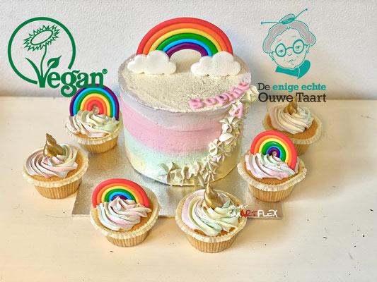 Vegan regenboogtaart, ei vrij, koemelkvrij en diervrije taart.