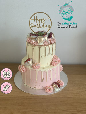 dripcake met taart topper, roze en goud