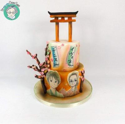 Japanse prieel bruidstaart met avatar bruidspaar
