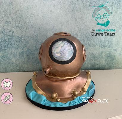 Onderwater helm taart, duikhelm taart, diepzee duik helm taart