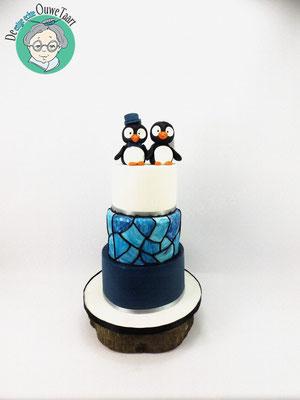 Pinguïn glas in lood 3 laags bruidstaart