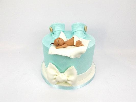 Baby boy slofjes taart