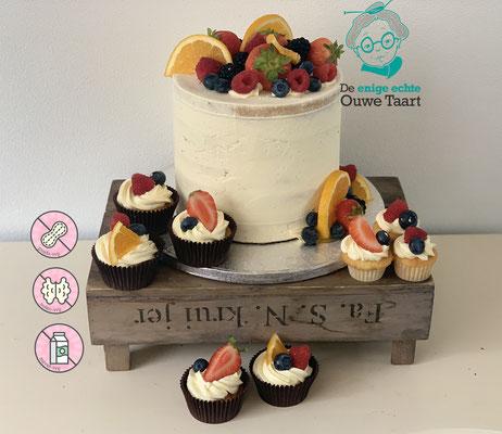 Buttercream cake, boter crème taart, koemelk en lactosevrij met vers fruit.