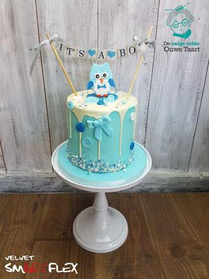 Uil babyshower dripcake