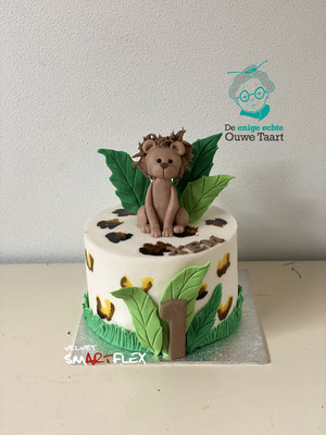 Leeuw taart, fondant leeuw, rimboe taart met leeuw