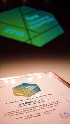 Auszeichnung von der fwv zur innovativsten Reisebürokette in Deutschland
