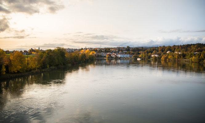 Der Rhein von der Hochrheinbrücke aus gesehen. Blickrichtung flussabwärts in Richtung Laufenburg. (Foto CC)