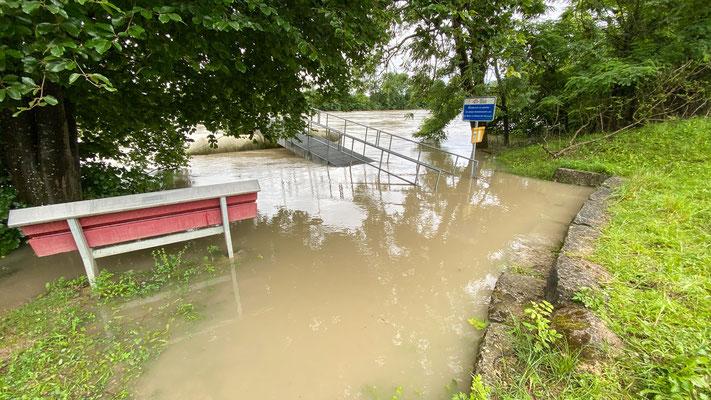 Hochwasser Rhein - Rheinsulz 15.07.2021. (Foto CC)