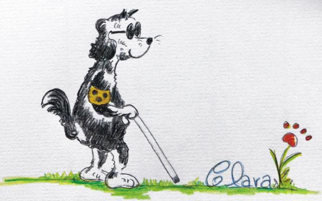 Cartoon Blinder Hund