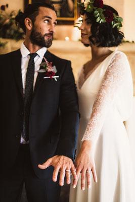 robe de mariée romantique crêpe et dentelle de Calais
