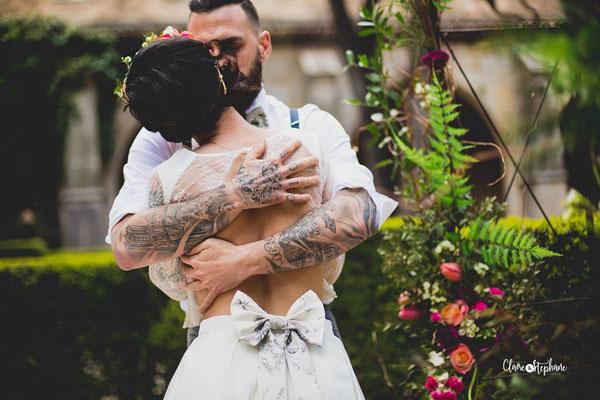 robe de mariée couture mikado de soie et dentelle