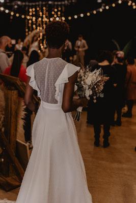 robe de mariée romantique volant mousseline