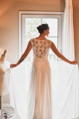robe de mariée romantique dentelle et sur-jupe mousseline