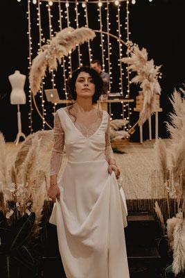 robe de mariée bohème romantique tissu crêpe