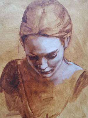 Grissaille Malerei im Anfangstadium