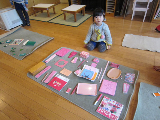 「色板」色集め。お部屋からピンクの仲間をたくさん見つけたよ!