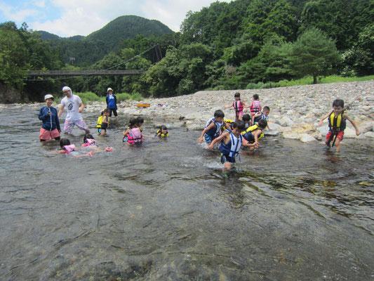 川の水がきれいで、魚もたくさんいるよ
